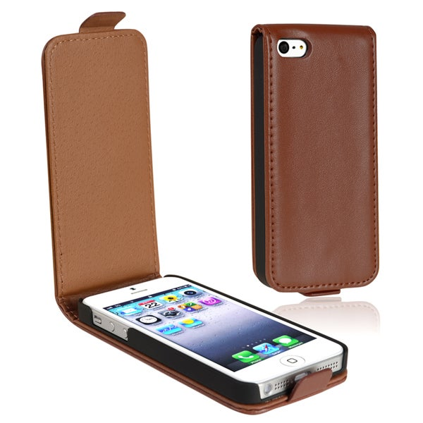 INSTEN Brown Leather Flip Phone Case Cover for Apple iPhone 5/ 5S