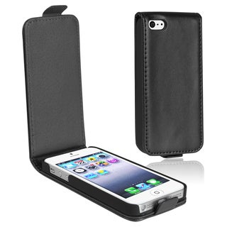 BasAcc Black 2 Snap-on Leather Case for Apple iPhone 5/ 5S