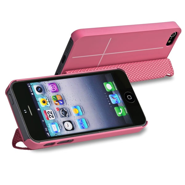 BasAcc Pink Snap-on Case with Leather Smart Cover for Apple iPhone 5