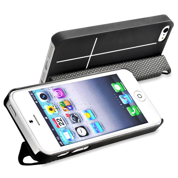 BasAcc Black Snap-on Case with Leather Smart Cover for Apple iPhone 5