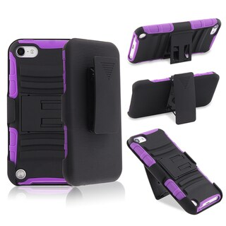 BasAcc Purple/Black Hybrid Case with Holster for Generation 5 Apple iPod Touch