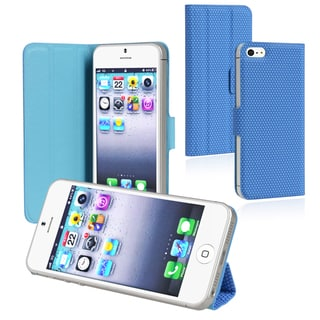 BasAcc Blue Leather Case with Stand for Apple iPhone 5