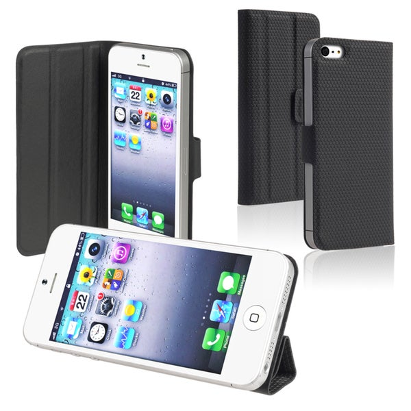 BasAcc Black Leather Case with Stand for Apple iPhone 5