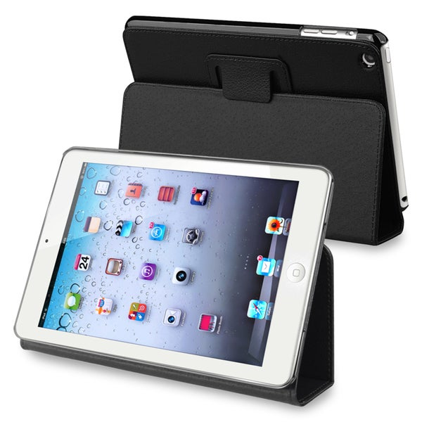 BasAcc Black Snap-on Leather Case with Stand for Apple iPad Mini