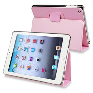 BasAcc Light Pink Snap-on Leather Case with Stand for Apple iPad Mini