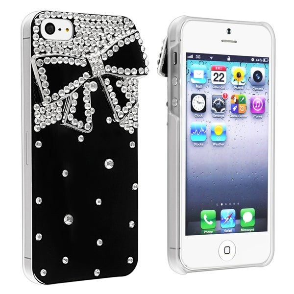 BasAcc Black with Diamond Ribbon Snap-on Case for Apple iPhone 5