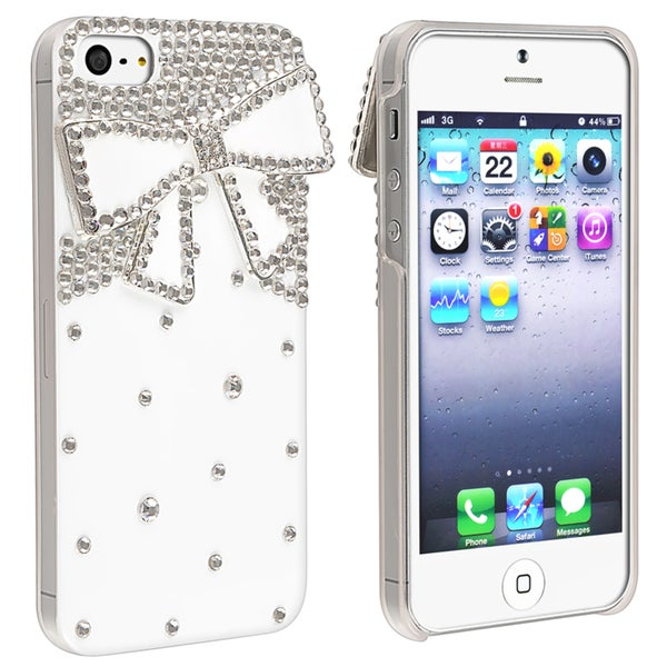 INSTEN White with Diamond Ribbon Snap-on Phone Case Cover for Apple iPhone 5