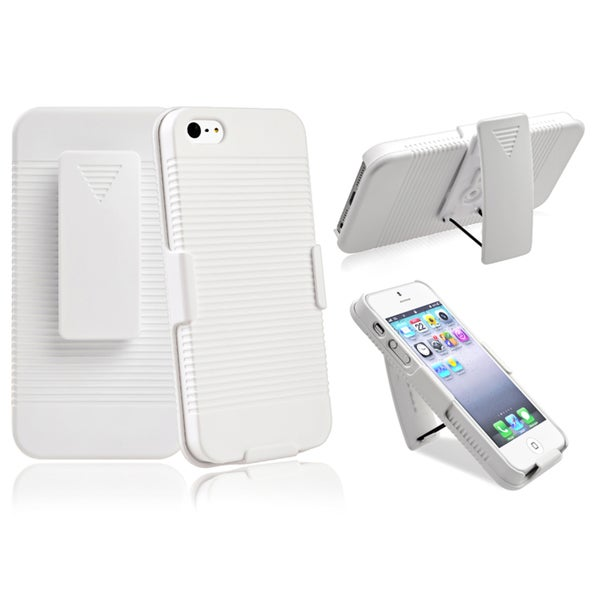 BasAcc White Swivel Holster with Stand for Apple iPhone 5