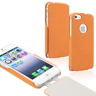 BasAcc Orange Leather Flip Case for Apple iPhone 5