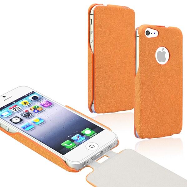 BasAcc Orange Leather Flip Case for Apple iPhone 5