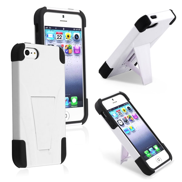 BasAcc Black/ White Hybrid Case with Stand for Apple iPhone 5