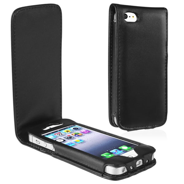 BasAcc Black Leather Case for Apple iPhone 5