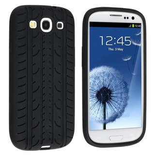 INSTEN Black Tire Soft Silicone Phone Case Cover for Samsung Galaxy S III/ S3 i9300