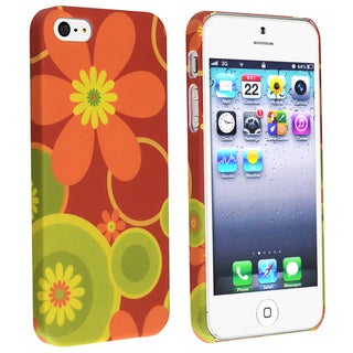 BasAcc Red/ Flower Snap-on Rubber Coated Case for Apple� iPhone 5