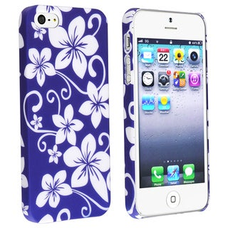 BasAcc Blue Hawaiian Flower Rubber Coated Case for Apple� iPhone 5