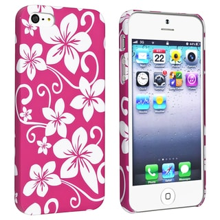 BasAcc Pink Hawaiian Flower Rubber Coated Case for Apple� iPhone 5