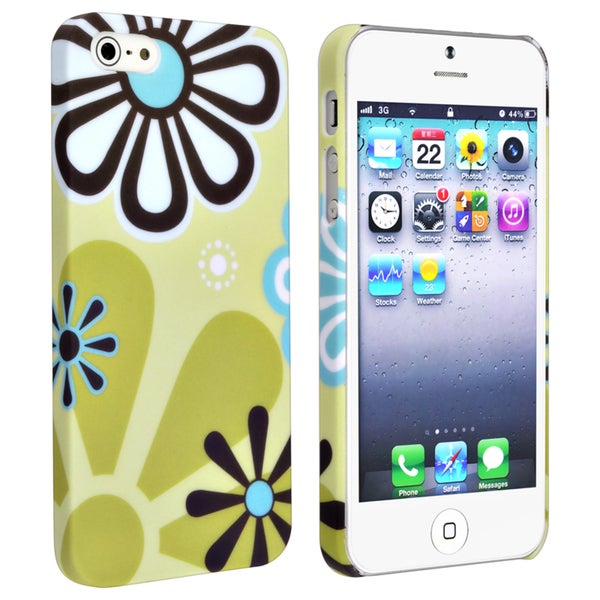 BasAcc Green/ Flower Snap-on Rubber Coated Case for Apple® iPhone 5/ 5S