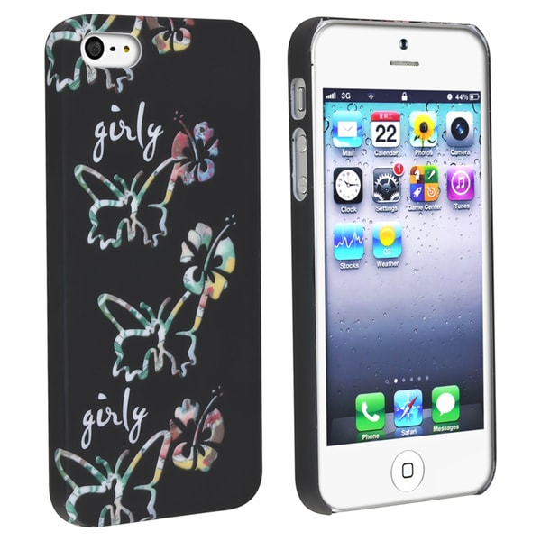 BasAcc Black/ Butterfly Rubber Coated Case for Apple® iPhone 5