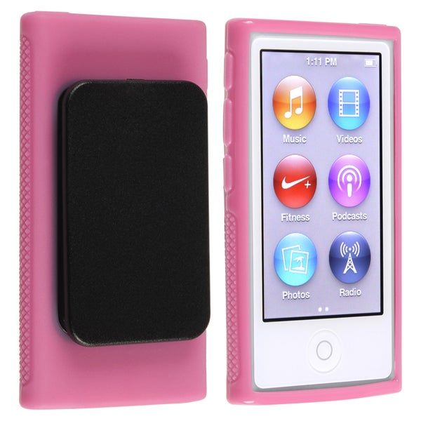 INSTEN Pink TPU iPod Case Cover with Belt Clip for Apple iPod nano Generation 7