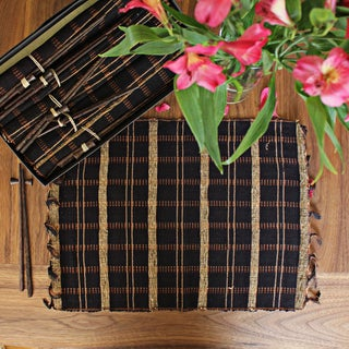 Set of 6 Vetiver Placemat and Chopstick Gift Set Black (Indonesia)
