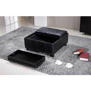 Elegant Large Faux Leather Storage Ottoman with 2-tray Top