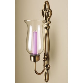 Aged Brass Antique Hurricane Sconce