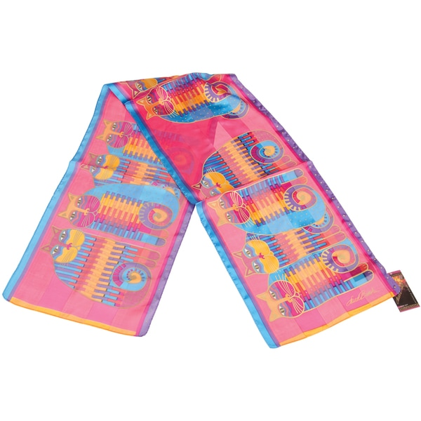Laurel Burch Scarves-Rainbow Cat Cousins Classic