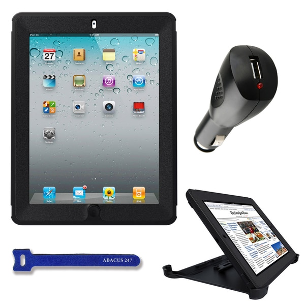 OtterBox Defender Apple iPad 2/3 Black Protective Cover with USB Car Charger