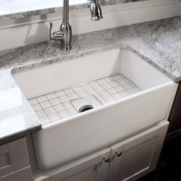 30 In Farmhouse Sink : ... 30-inch Single Bowl Fireclay Farmhouse Kitchen Sink with Grid and