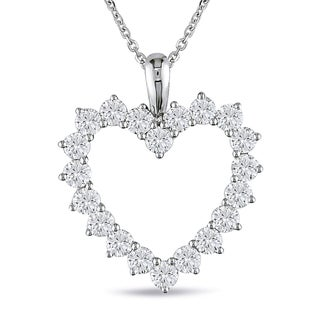 Miadora 14k White Gold 2ct TDW Diamond Heart Necklace (G-H, SI1-SI2)