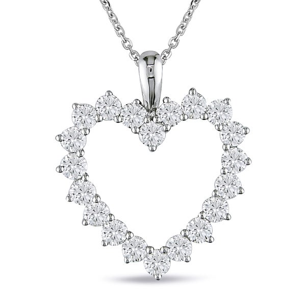 Miadora Signature Collection 14k White Gold 2ct TDW Diamond Heart Necklace (G-H, SI1-SI2)