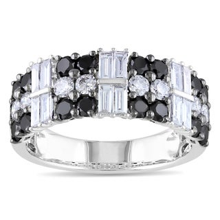 Miadora 14k White Gold 1 7/8ct TDW Black and White Diamond Ring (G-H, SI1-SI2)