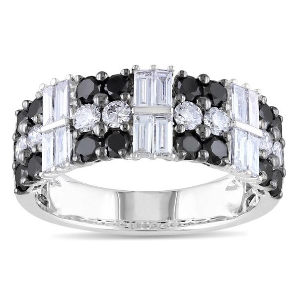 Miadora 14k White Gold 1 7/8ct TDW Black and White Diamond Ring (G-H, SI1-SI2)