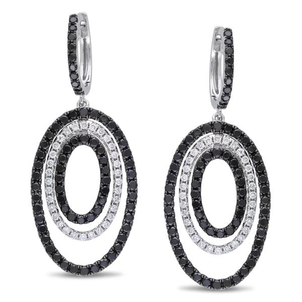 Miadora 14k Gold 3 4/5ct TDW Black and White Diamond Earrings (G-H, SI1-SI2)
