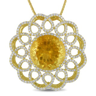 Miadora 14k Gold Citrine and 1 3/4ct TDW Diamond Necklace (G-H, SI1-SI2)