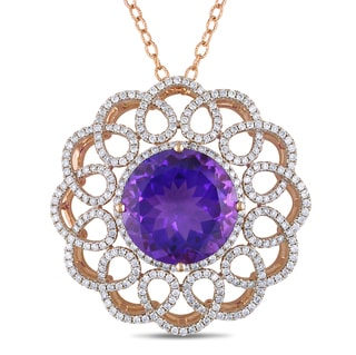 Miadora Signature Collection 14k Gold Amethyst and 1 3/4ct TDW Diamond Necklace (G-H, SI1-SI2)