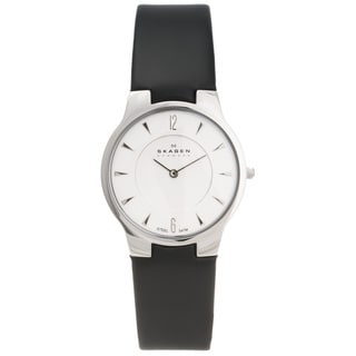 Skagen Men's Steel Ultra Slim Leather Strap Watch