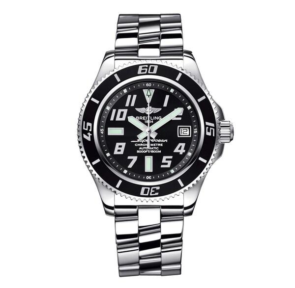 Breitling Men's Black Steel 'Superocean' Automatic Watch
