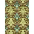 Hand-hooked Fandango Brown/ Green Rug (5' x 7'6)
