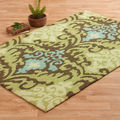 Hand-hooked Fandango Brown/ Green Rug (3'6 x 5'6)