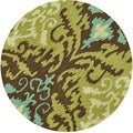Hand-hooked Charlotte Brown/ Green Rug (3' x 3')