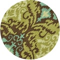 Hand-hooked Fandango Brown/ Green Rug (3' x 3')