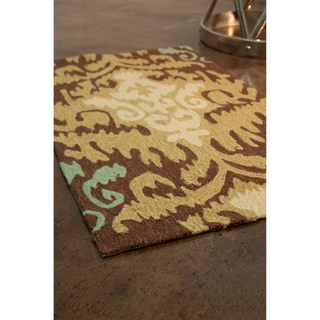 Hand-hooked Fandango Brown/ Green Rug (2'3 x 3'9)