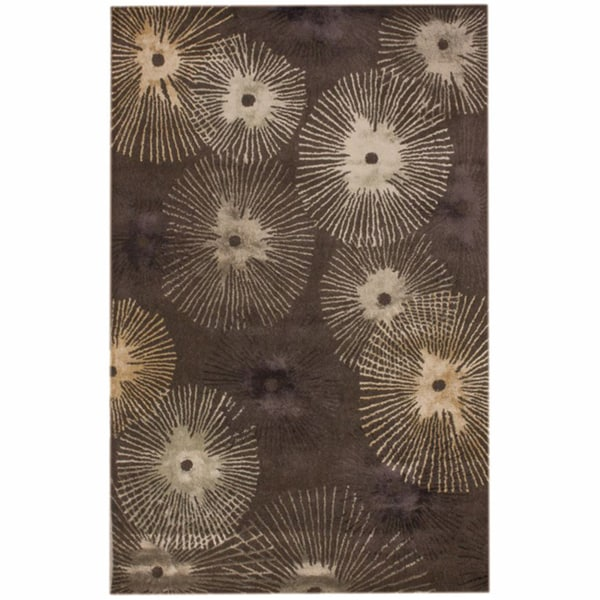 nuLOOM Handmade Burst Brown Faux Silk/ Wool Rug
