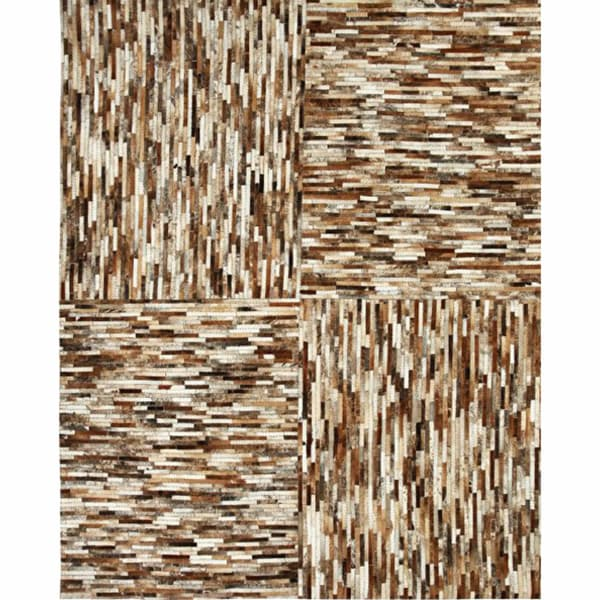 nuLOOM Handmade Patchwork Brown Cowhide Leather Rug
