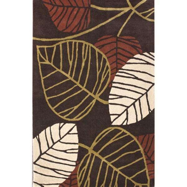 nuLOOM Handmade Leaves Brown New Zealand Wool Rug