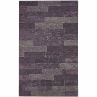 nuLOOM Hand-knotted Geometric Plum New Zealand Wool Rug (5' x 8')