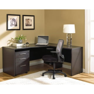 Corner Crescent Desk with file cabinet in espresso