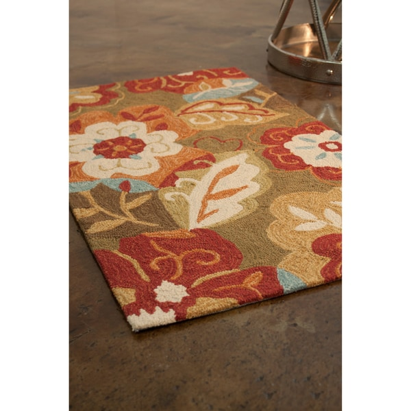 Hand-hooked Charlotte Green Rug (2'3 x 3'9)