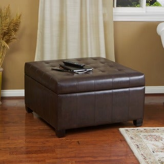 Christopher Knight Home Alexandria Brown Bonded Leather Storage Ottoman